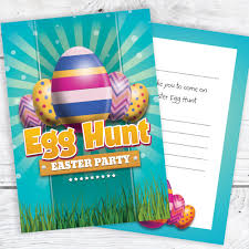 Easter Egg Hunt Party Invitations Ready To Write With Envelopes Pack 10