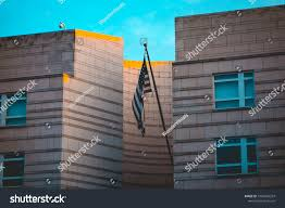 American Flag Office Building Stock Photo Edit Now 1056065324