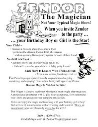 Here Is My New Magic Birthday Party Flier Zendormagic