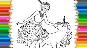 impressive unicorn coloring pages for kids barbie princess and l markers videos