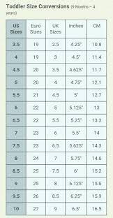 Toddler Shoe Size Conversion Chart 9 Months Through 4 Years