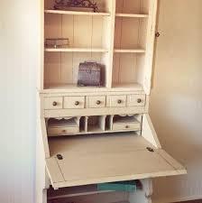 vintage pennsylvania house painted two piece secretary desk hutch bookcase antique white