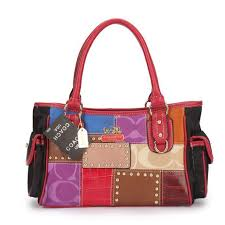 Coach Holiday Logo Stud Medium Red Multi Satchels EBV