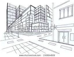 perspective drawings of buildings. Simple Buildings Two Point Perspective Sketching Plan Of Out Door Building Inside Perspective Drawings Of Buildings