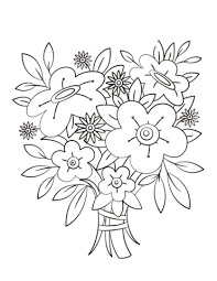 Surprising Flower Bouquet Coloring Pages Preschool For Tiny Flowers