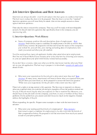 Interview Question Examples Job Interview Sample Good Resume Format