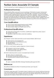 marketing and sales cv fashion sales associate cv sample myperfectcv