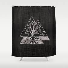valknut symbol and tree of life yggdrasil shower curtain by