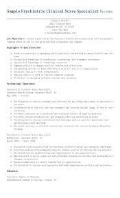 sample clinical nurse specialist resume sample psychiatric clinical nurse specialist resume resame