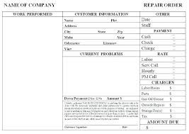 Invoice Template For Work Done Free Auto Repair Invoice Template Excel Example Work Order
