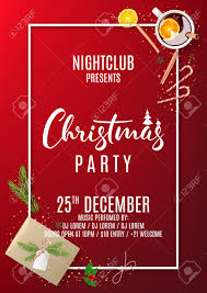 Holiday Christmas Party Invitation Design Template With Paper