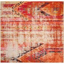 monaco orange multi 7 ft x 7 ft square area rug