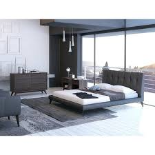 leather upholstered bed deals faux