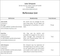Resume Reference Template How To List Job References On Resume