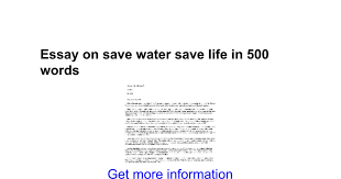 essay on save water save life in words google docs