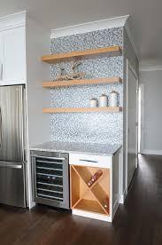 Floating Shelves Cut To Size Kitchen Bar with Blue Mosaic Backsplash Tiles and Maple Floating 1
