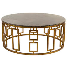 stone coffee table. Lazar Global Bazaar Antique Brass Round Stone Coffee Table | Kathy Kuo Home