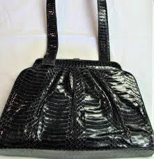 vintage black snakeskin giani bernini shoulder two handled handbag to expand