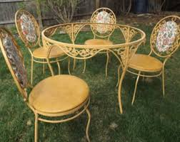 wrought iron garden furniture antique. vintage wrought iron warm gold yellow patio set decorative table four chairs garden furniture antique h