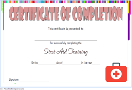 Certificate Of Training Completion Template Training Completion Certificate Template For First Aid 2
