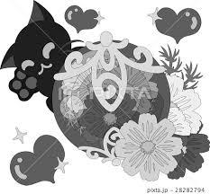 可愛い猫と綺麗な花の宝石のイラスト素材 28282794 Pixta