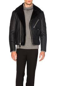 image 1 of coach 1941 sheep shearling motorcycle jacket in navy