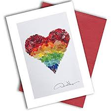 Single Rainbow Sea Glass Heart Note Card 3x5 Blank Card With Classy Envelope Best