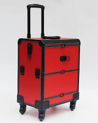 red black leather makeup trolley case with wheels