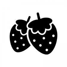 2つのイチゴのシルエット 無料のaipng白黒シルエットイラスト