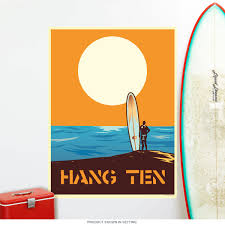 hang ten longboard surfing wall decal zoom on hang ten wall art with hang ten longboard surfing wall decal beach decor retroplanet