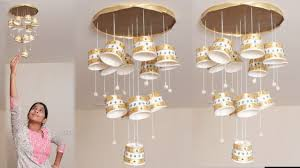 diy crafts chandelier made of recycled paper cups