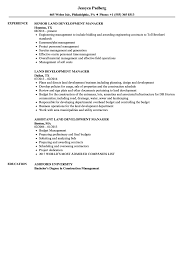 Land Development Manager Resume Samples | Velvet Jobs