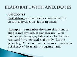 presented by beverly dunaway   anecdotes definition  a short    anecdotes definition  a short narrative inserted into an essay that develops an idea or