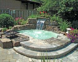 hot tub with waterfall and fire pit in ground kits diy