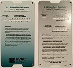 R22 Superheat Slide Chart Amazon Com R22 Superheat Subcooling Calculator Charging