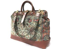 carpet bag. carpet bag with leather bottom, size medium, hand made in england. free shipping (