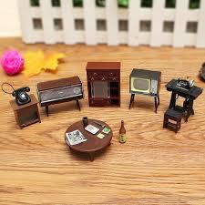 Miniature Dollhouse Furniture Set Sewing Machine Telephone For