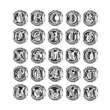 Authentic 925 Sterling Silver Vintage A to T Letter Charms Fit Original Pandora Charm Bracelets Bangles
