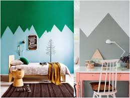 Walls of two colors with mountains Geometric two color wall paint
