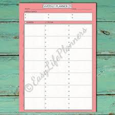 Vertical Weekly Calendar Weekly Vertical Planner Printable Pdf From Easylifeplanners On