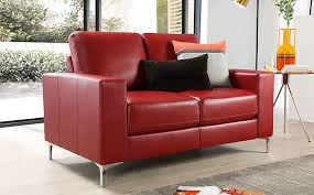 baltimore red leather 2 seater sofa