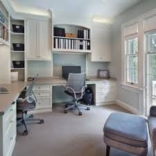 two desk home office. Example Of A Transitional Built-in Desk Home Office Design In DC Metro Two