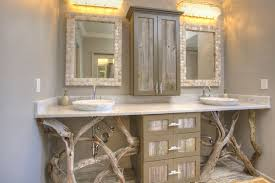 rustic beach wall decor for elegant bathroom ideas with rustic wooden vanity using grey wall color