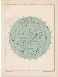 1910 Northern Index Rare Celestial Star Map Original Antique
