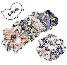 <b>Hair</b> Scrunchies for Women Boho <b>Floral</b> Print Large <b>Hair</b> Bands ...