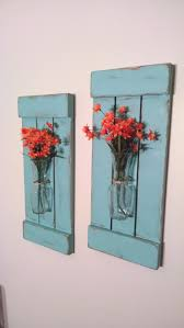 Shabby Chic Wall Decor Large Rustic Sconces Shutters With Vase Rustic Shutters Rustic