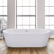 woodbridge b 0002 acrylic freestanding bathtub with brushed nickel overflow and drain