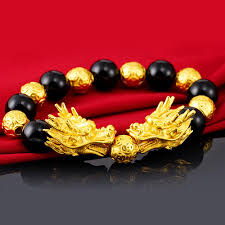 kemstone domineering alluvial gold plated black agate round beads double dragon charms strand bracelets jewelry gifts