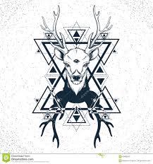 рука нарисованная рукой красивая сделала эскиз к оленям иллюстрация