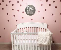 pink and white nursery with rose gold polka dot wall decals project nursery